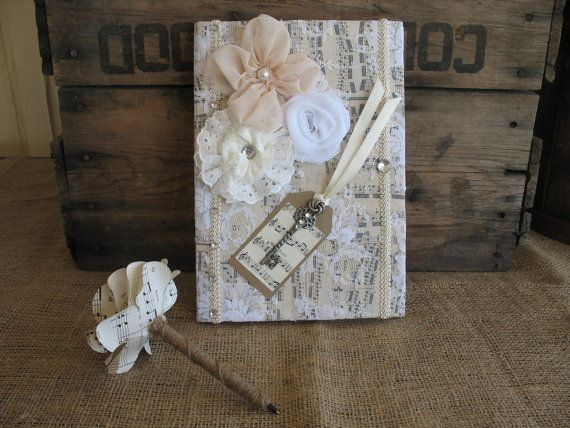 guest book wedding guest book and pen shabby chic wedding guest rh weddbook com shabby chic baby shower guest book shabby chic guest book wedding