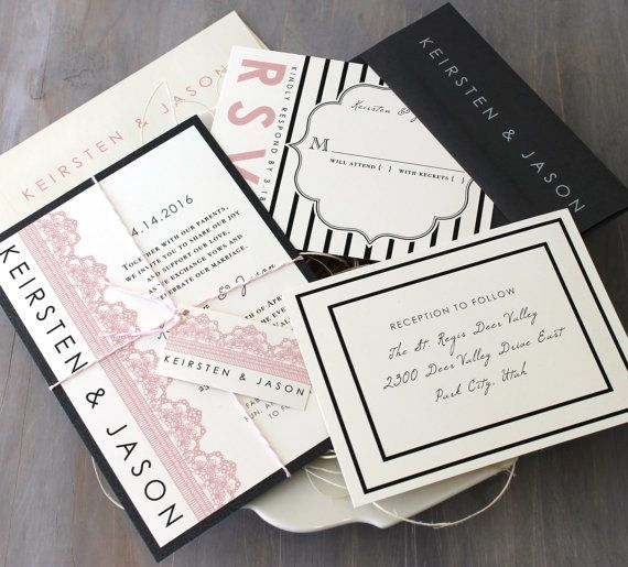 Pink And Gray Wedding Invitations Black Lace Invites Striped Modern Sample