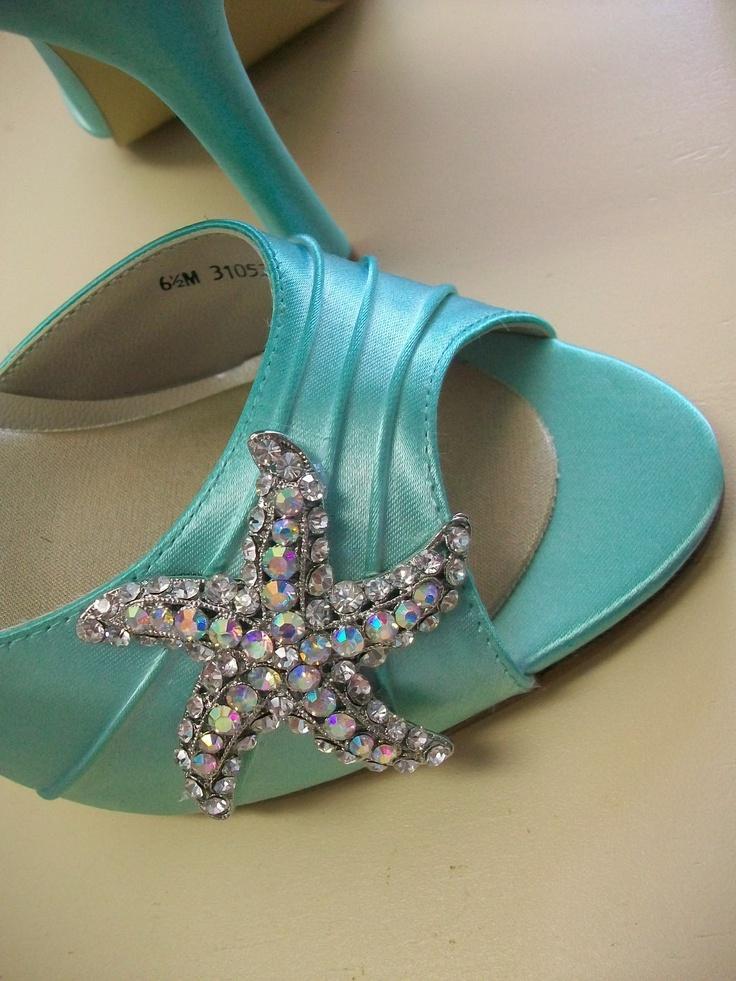 Wedding Shoes Starfish Beach P Toe Tiffany Blue Bridal Heels Swarovski Crystal Parisxox