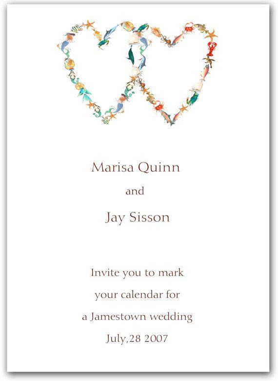 Two Nautical Hearts Wedding Invitationsrehearsal Dinner