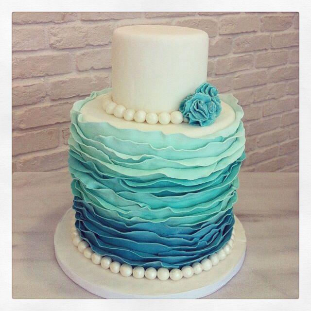 Tiffany Blaue Hochzeits Raffungen Turkis Ombre Hochzeitstorte