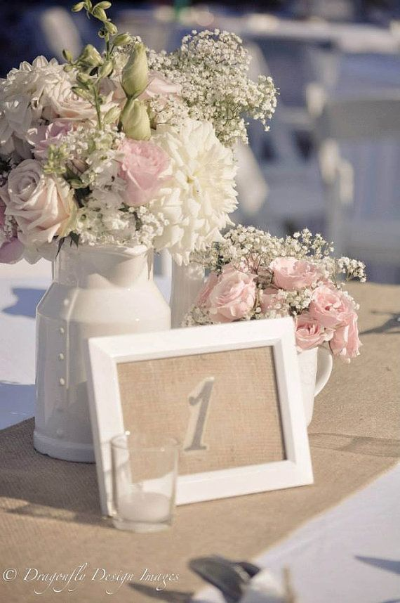 Burlap Wedding Table Numbers Qty 20