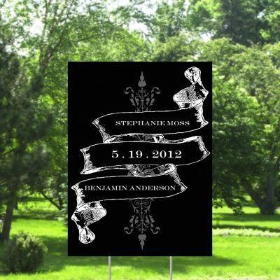 Hochzeit - Weinlese-Fahne Yard - Ebenholz - Groß
