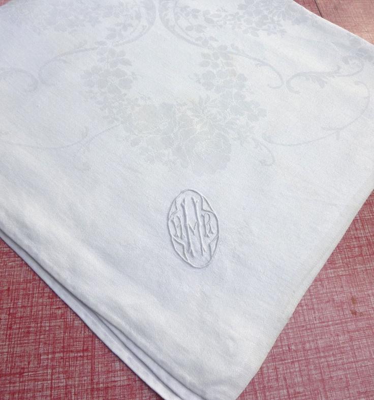 Wedding - Monogram Vintage Damask Linen Napkin - White Rose Garlands Floral Pattern And H Initial