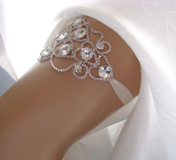 Crystal Wedding Garter Rhinestone Bridal Keepsake Heirloom Ivory White Couture Silver Custom