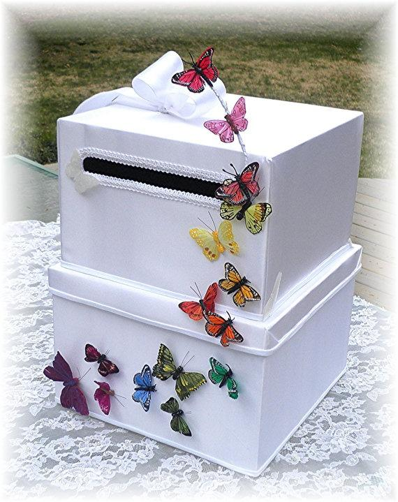 Wedding - BUTTERFLY KISSES Rainbow Butterflies Two Tiered Wedding Card Box Money Card Box CUSTOMIZE Your Colors