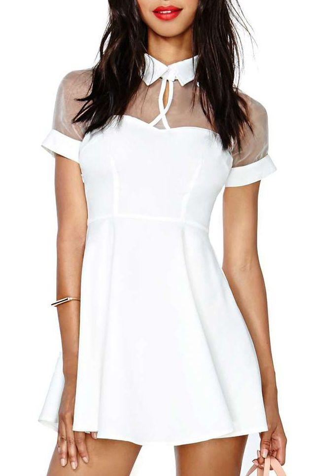 Mariage - Blanc manches courtes maille pic collier Robe patineuse - Sheinside.com