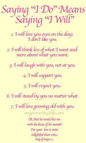 "I Do Not Like: Saying ""I Do"" Means Saying ""I Will"