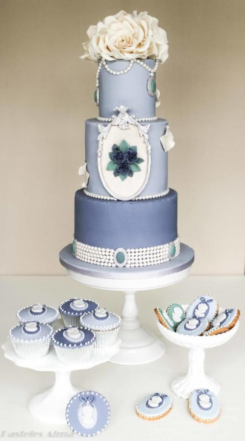 Shabby Wedding Shabby Chic Blue Wedding Cake 2055588 Weddbook