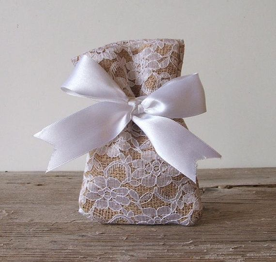 Rustic Favor Bags 50 Pc Burlap Lace Bag For Wedding Beach Vintage White Bow