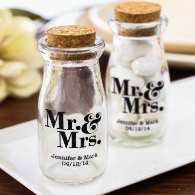 Wedding - Imprinted Milk Favor Jars, Imprinted Vintage Milk Jars, Imprinted Vintage Favor Jars, Personalized Imprint Vintage Milk Jars