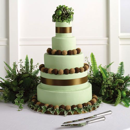 Mint And Bronze Wedding Cake