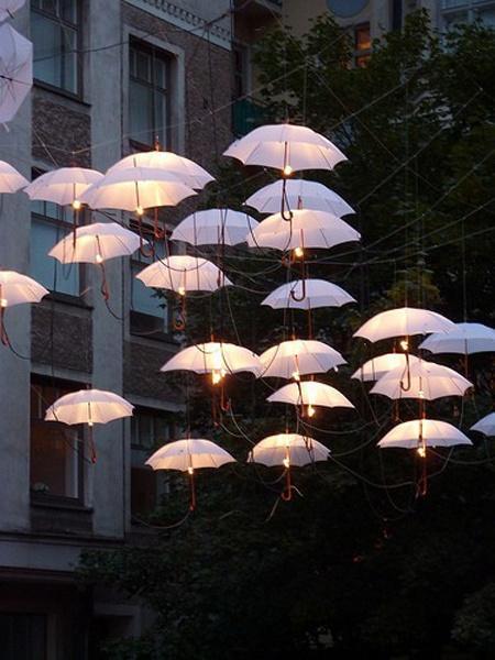 Outdoor Wedding - Floating Umbrella Lights #2055818 - Weddbook