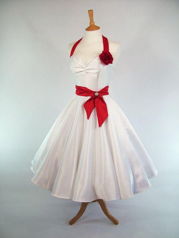 Wedding - Made To Measure Red And White Duchess Satin Full Circle Skirt Wedding Dress - Detachable Straps & Belt