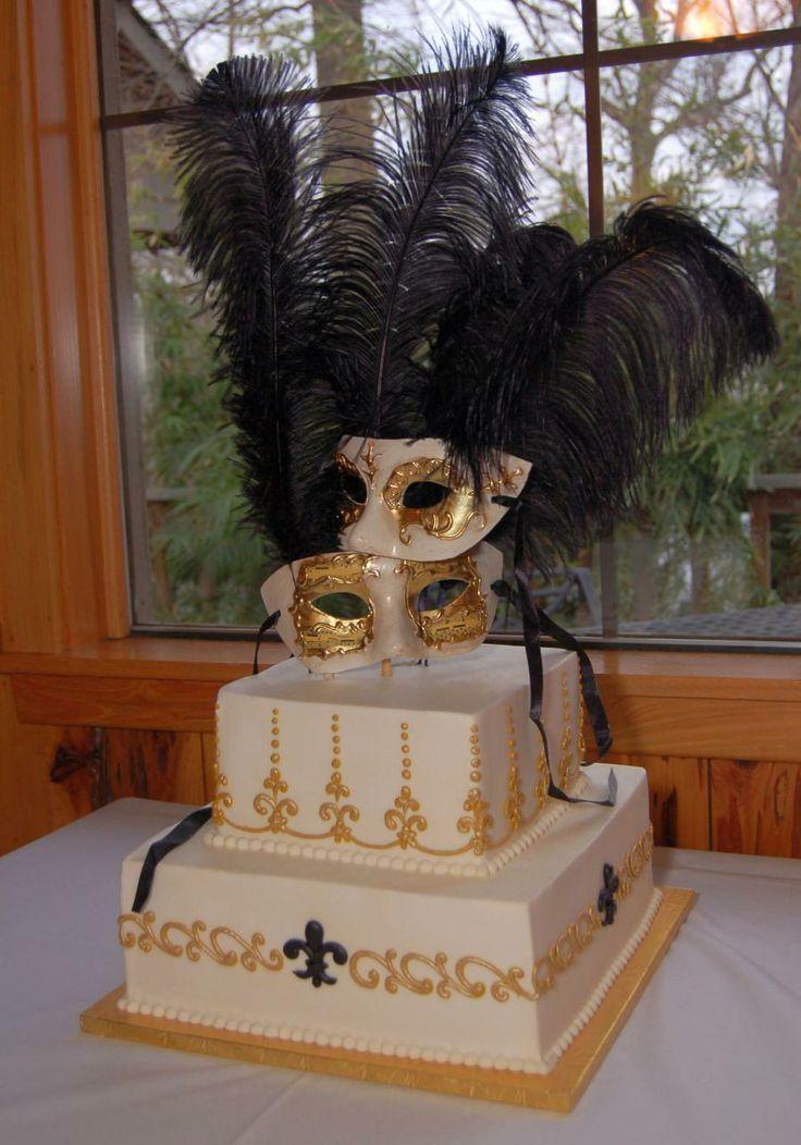 Captivating Gold Masquerade Wedding Cake