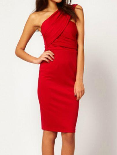 Wedding - Red One Shoulder Backless Split Bodycon Dress - Sheinside.com