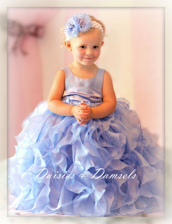 Periwinkle Blue Flower S Dress With Ruffles Baby Toddlers Sizes
