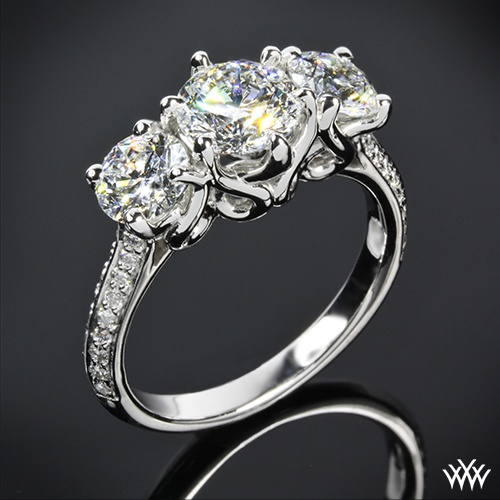 "18k White Gold Vatche ""Swan"" 3 Stone Engagement Ring Setting ly"