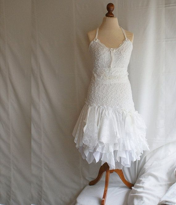 Fairy wedding dress upcycled clothing tattered romantic for Wedding dresses shabby chic