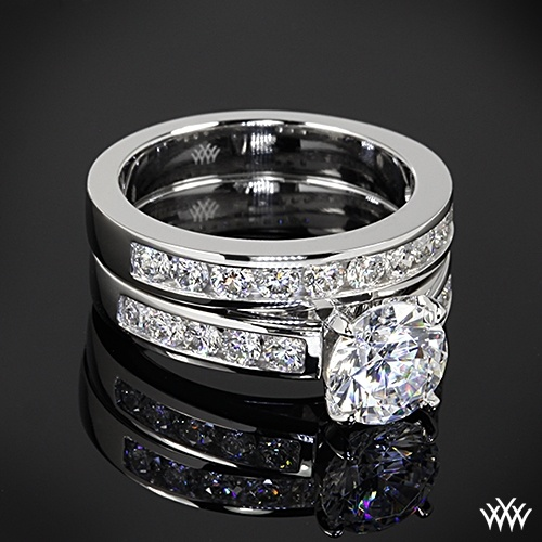 "Wedding - 18k White Gold ""Cathedral Channel-Set"" Diamond Engagement Ring And Wedding Ring"