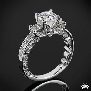 Wedding - 18k White Gold Verragio Bead-Set 3 Stone Engagement Ring