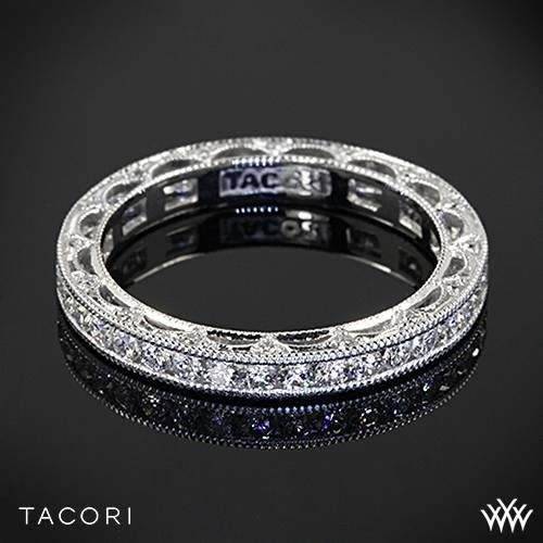 Wedding - 18k White Gold Tacori Reverse Crescent Eternity Star Diamond Wedding Ring