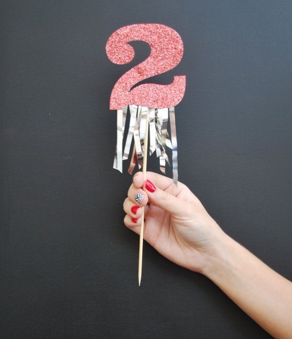 Glitter Number Birthday Cake Topper With Fringe Festive Birthday