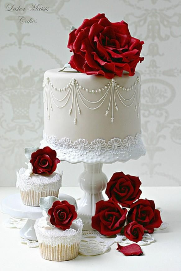 Cake Ideas With Red Roses : Red Wedding - Rose Wedding Cake & Cupcakes #2056605 - Weddbook