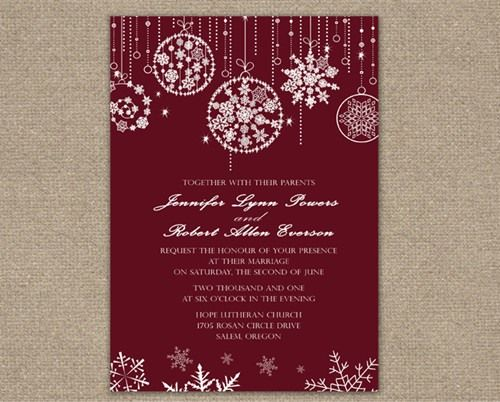 winter christmas wedding invitations