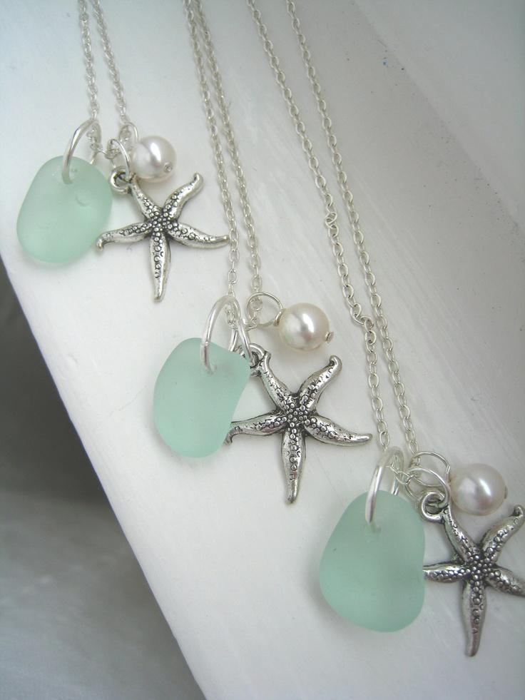 Свадьба - Starfish And Aqua Стекла Моря Ожерелье. Tiffany Blue Beach Свадьбы. Свадьба На Пляже