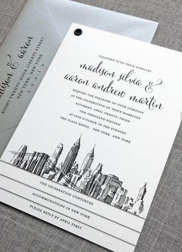 Mariage - NOUVEAU Madison de New York Skyline Invitation de mariage d'échantillon