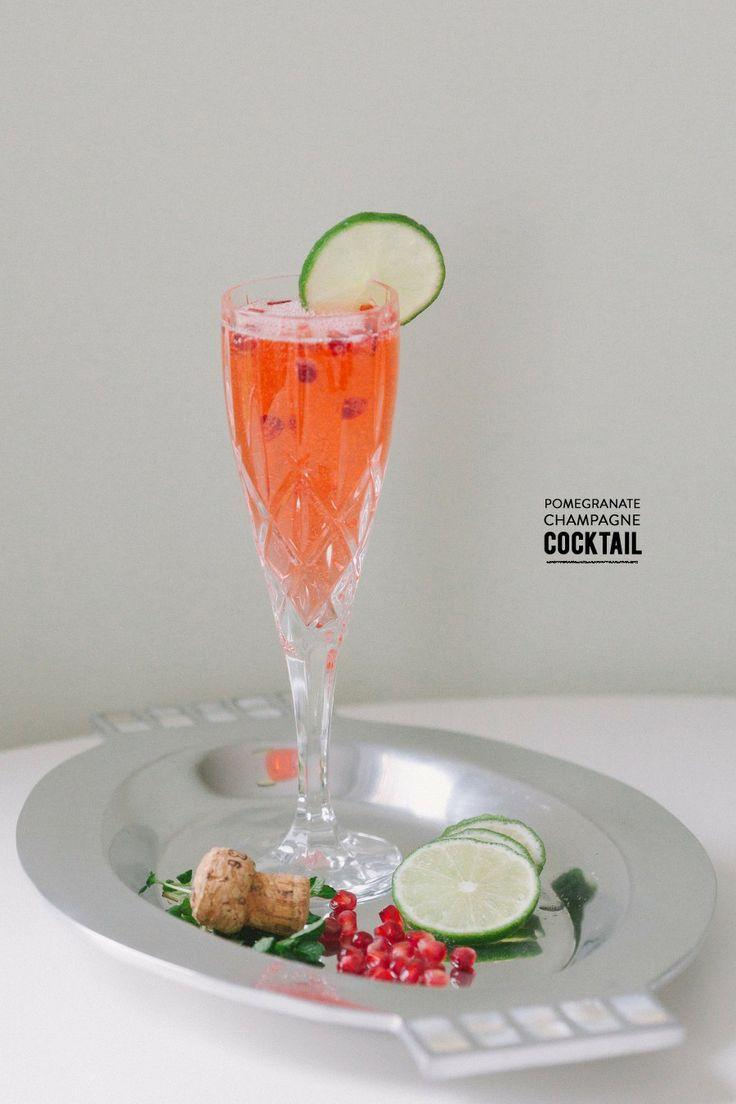 Wedding - Pomegranate Champagne Cocktail With Lime