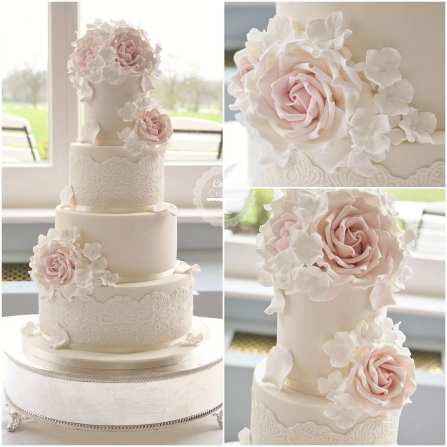 Wedding Cake Pictures With Roses : Wedding Cakes - Lace & Roses Wedding Cake #2057264 - Weddbook
