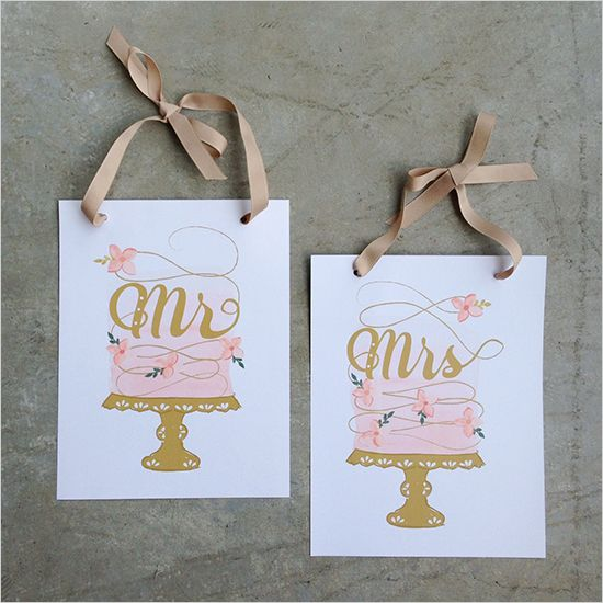 Wedding - Mr. And Mrs. Cake Signs