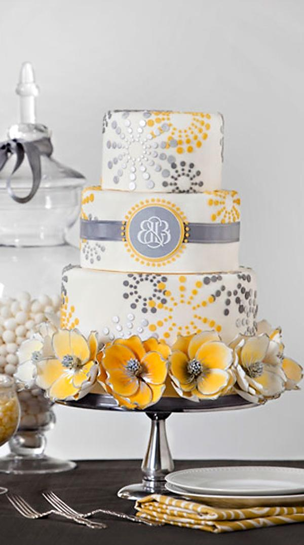 about gray yellow weddings yellow wedding cakes and gray wedding cakes