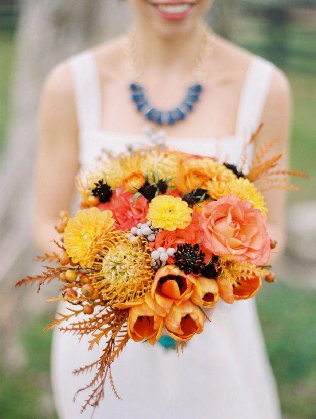Wedding - Autumn Orange Wedding Bouquet.