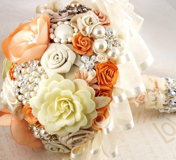 Hochzeit - Tangerine Braut Brosche Bouquet