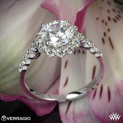زفاف - 18K الذهب الأبيض Verragio جولة هالو الماس خاتم الخطوبة