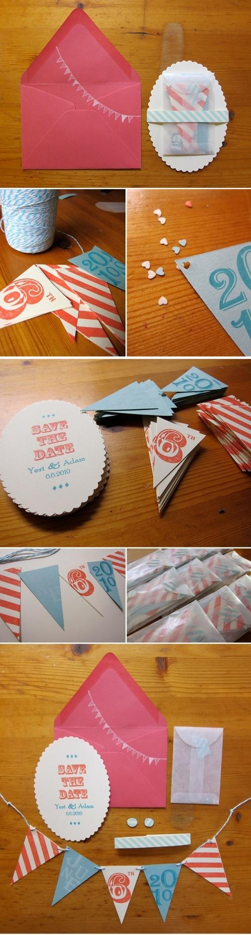 Wedding - DIY Make Your Own Flags Invitations