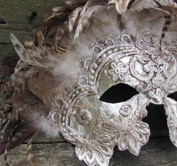 Свадьба - Венецианский Маскарад Маски В Богато Украшенный Серебряный С Коричневыми Перьями, Myrmidon