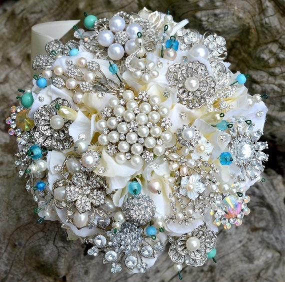زفاف - الودائع في تيفاني الأزرق بروش الزفاف باقة الزفاف - التي أدخلت على النظام باقة الزفاف