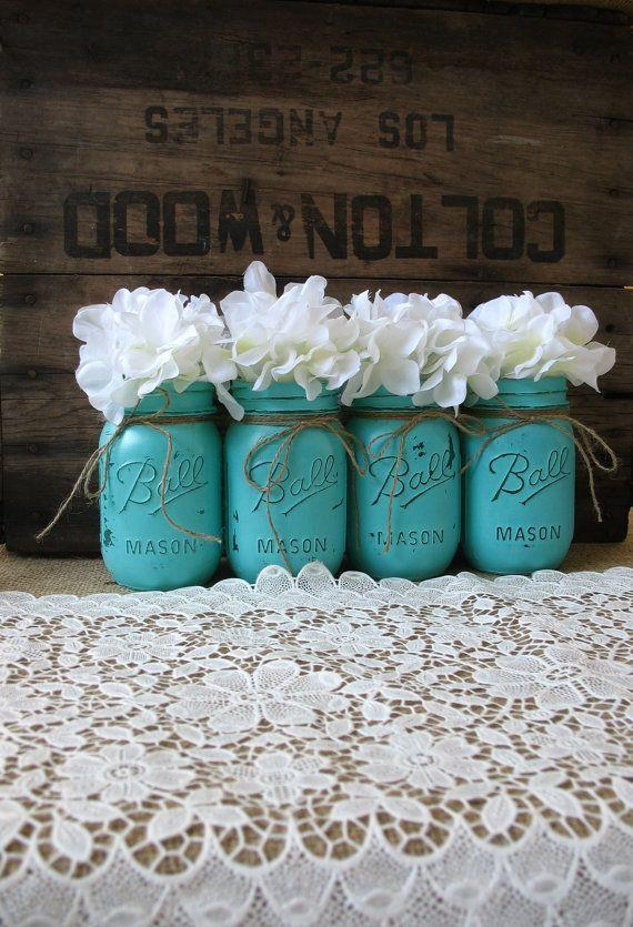 Wedding - Mason Jars, Painted Mason Jars, Rustic Wedding Centerpieces, Party Decorations, Turquoise Wedding