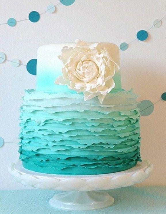 Tiffany Turkis Hochzeit Thema Ombre Hochzeitstorte 2058451 Weddbook