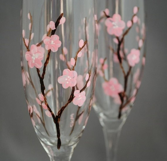 Wedding - Cherry Blossom Painted Flutes