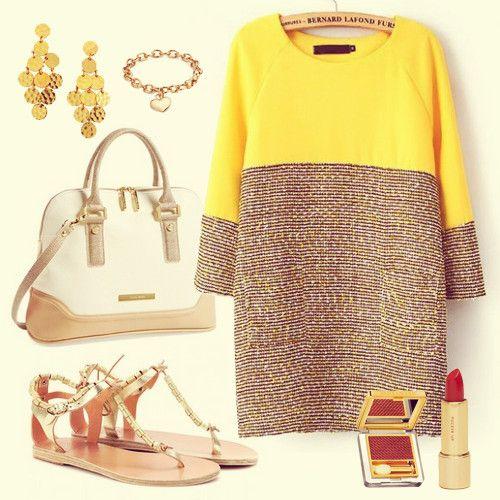 Nozze - A maniche lunghe giallo a contrasto grigio Vestito Straight - Sheinside.com