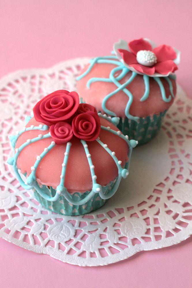 Свадьба - Винтаж-Розовый И Бирюзовый Кексы