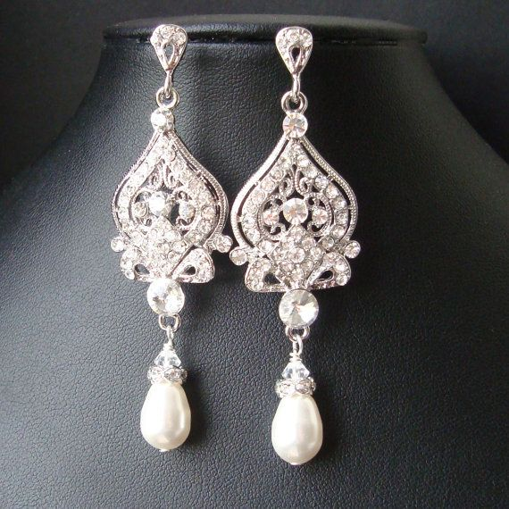Victorian Style Bridal Earrings White Ivory Pearl And Rhinestone Chandelier Wedding Hollywood Glamour Jewelry Jacqueline