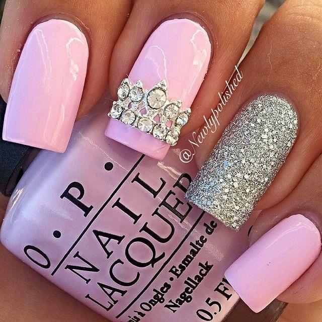 ... see more about pink nails silver nails and silver glitter