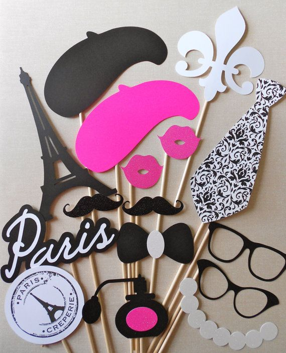 Bien-aimé Paris Photo Booth Props. Parisian Photo Booth Props. Glitter  PM11