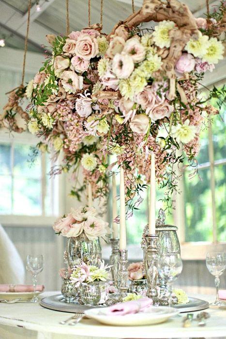 Romantische Hochzeit Herrliche Blumen Und Zweig Kronleuchter